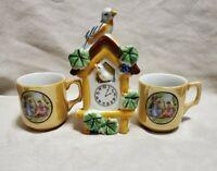 Cuckoo Clock Wall Pocket Lusterware Creamsicle & Cups Japan 1940's
