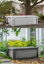 Keter Rockwood 165 Gallon Patio Storage Bench Weatherproof Deck Box Brown/White