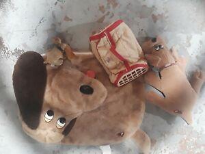Vintage Original 80's Tonka Pound Puppies Pillow Case Kennel Plush lot of 4