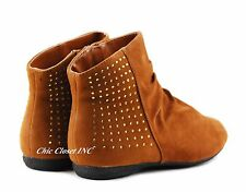 Women Ankle boots Fashion Low Flat Heels Studded Booties Winter Big Size Shoes
