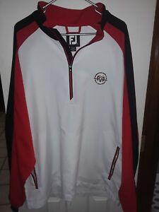 Footjoy Wind Jacket Xxl 1/4 Zip Pullover  White/black/red
