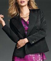 Cabi Black Double Breasted Tuxedo Blazer Jacket Pocket Lined Womens Sz 10 Medium