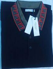 Versace Collection Black Printed Polo Shirt Sz L