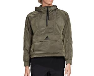 adidas Windbreaker Womens Authentic New Wind Ready Anorak 1/2 Zip Cropped Green