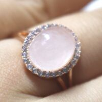 Authentic Rose Quartz Moissanite Wedding Engagement Ring Women Birthday Jewelry