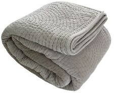 "Cement Gray Handmade Cotton Velvet Quilt Bedspread 94x102""240x260 HomeFurnishing"