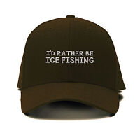 I`D Rather Be Ice Fishing Embroidery Embroidered Adjustable Hat Baseball Cap