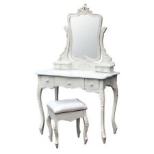 ANTIQUE SHABBY CHIC WHITE DRESSING TABLE WITH MIRROR & STOOL SET (J2127-WH)