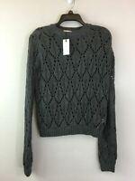Women's Sugar + L!ps Everett Long Sleeve Pointelle Sweater, Size M/L - Grey