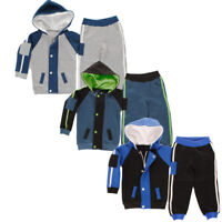 Baby Boys, Girls Contrast Stripe Arm Patch Toddlers Babies Fleece Tracksuit G...