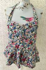 Be Beau Matalan Floral Button Detail Halterneck Summer Lined Top Size 14