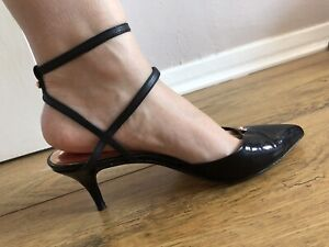 Ted Baker black patent leather pointed toe women's heels shoes UK4 EUR37