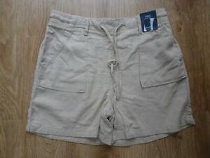 M&S ladies beige oyster linen blend shorts UK 10 NEW BNWT