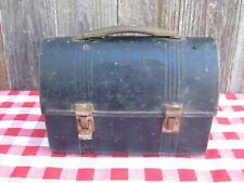vintage Black Dome Style Metal Lunchbox Lunch Pail Bucket
