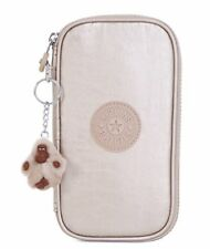Kipling Kay Pencil Case Cosmetic Pouch Gleaming Gold Metallic NWT AC8069
