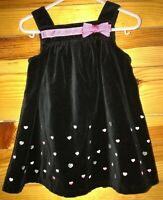 Gymboree Girls Tres Chic Black Velveteen Heart Jumper Dress EUC Sz 12-18 Months