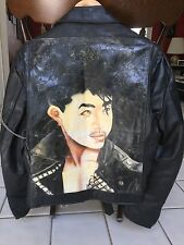 Punk Rock style vintage genuine leather men's jacket with hand painted back