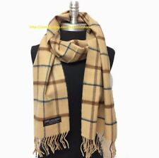 Womens Winter 100% CASHMERE SCARF Check Plaid Scotland Soft Warm Wool Wrap Camel