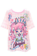 T-55 ROCK 'N ROLL QUEEN cat chat rose carreaux T-shirt pastel goth lolita japon