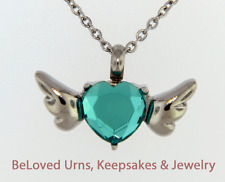 Blue Heart With Wings Pendant Cremation Jewelry Keepsake Urn Necklace - Funnel