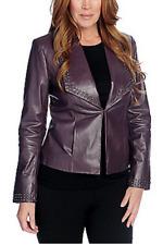 Pamela McCoy Genuine Leather Long Sleeve Stud Detail Hook Frnt Jacket Purple 1X