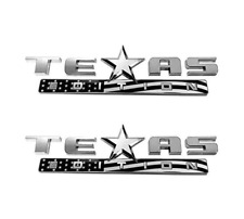 Grey USA Flag TEXAS EDITION Fender Door Side Emblems Nameplates Badges Stickers