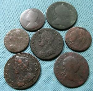 Lot of 7 1600s-1700s Halfpenny Farthing British US Colonial Era Copper Old Coins