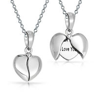 I Love You Her Heart Shape Locket Pendant Necklace Sterling Silver