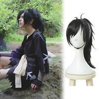 Dororo Hyakkimaru Black Long Straight Clip Ponytail Cosplay Wig Unisex Black Wig
