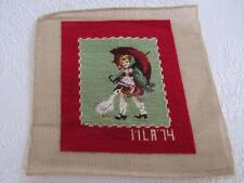 Vtg Wool GIRL & UMBRELLA Needlepoint PETIT POINT Canvas COMPLETED Morton Salt