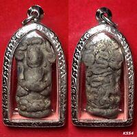 Phra Nak Prok 70yr Thai Amulet Buddha Talisman Magic Silver Casing Necklace K554