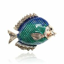 Blue Enamel Fish Brooches Yellow Gold Plated Brooch Pin For Lady Kid Gift Party