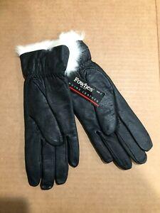 Ladies Fownes White Rabbit Fur Genuine Leather Gloves, Black, Size 8, Rare NEW
