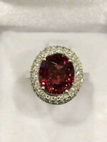 CERTIFIED 4.8 Ct High Quality Rubellite Tourmaline Ring, 18K Gold and Diamonds