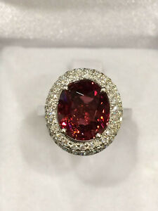 CERTIFIED 4.8 Ct High Quality Rubellite Tourmaline Ring 18K Gold and Diamonds