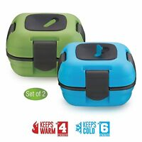 Pinnacle Insulated Leak Proof Thermal Lunch Box for Adults and Kids ~Set of 2~