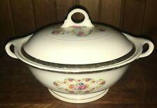 Vintage American Limoges Vegetable Serving Bowl & Lid 22K Gold Fortune 1940s