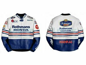 Honda Rothmans Armour Protection Motorbike Racing Genuine Cowhide Leather Jacket