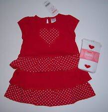 NWT Gymboree Valentine's Day 12-18 Red Polka Dot Tiered Dress Sweet Heart Tights