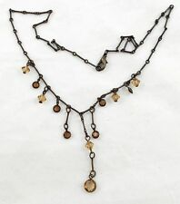 "Vintage Faceted AMBER Crystals on 16"" Brass Link Necklace T2"