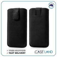 M-BLACK SLEEVE PULL UP TAB SOFT LEATHER POUCH COVER FOR KOGAN AGORA HD PHONE