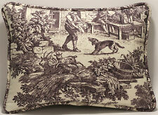 """2 12"""" by 16"""" Laura Ashley House Party Plum Country Toile Designer Throw Pillows"""