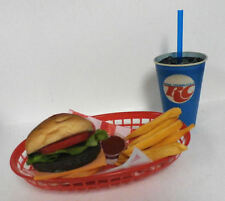 FAKE FOOD DINER CAR HOPCHEESEBURGER FRIES W/ RC COLA CUP BASKET SHIPS FREE