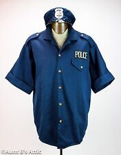 Policeman's Shirt & Hat Navy Blue Short Sleeved Men's Plus Sz. Costume Shirt Hat