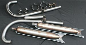KMZ K750   complete exhaust system mufflers silencer KNEES clamps RAW