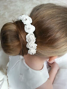 HAIR BUN RING GARLAND BRIDESMAID FLOWER GIRL  ROSES &  RHINESTONES ACCESSORY