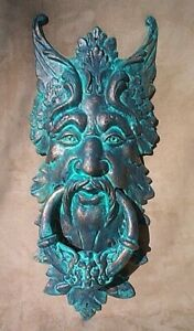 "GARGOYLE DOOR KNOCKER cast iron LARGE 20"" verdigris GREEN MAN CELTIC LEAF metal"