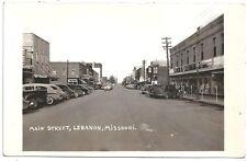 RPPC View of Main Street in Lebanon Missouri c1930-40s w/ Autos & Stores