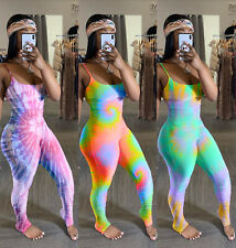 Nuevo Para mujeres elegante espaguetis correa Lisas Multicolor Tie Dye Mono Imprimir