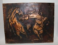 EMBOSSED COPPER PLATE SHEET MAJESTIC HORSES BARN ART UNSIGNED with PATINA OOAK